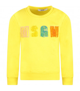 MSGM KIDS Yellow girl sweatshirt with multicolor logo