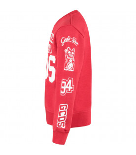 GCDS KIDS Red kids sweatshirt with white logo and writing