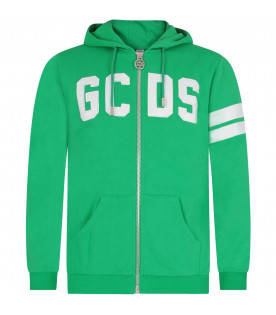 GCDS KIDS Green kids sweatshirt with white logo