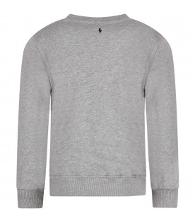 NEIL BARRETT KIDS Grey boy sweatshirt with black logo
