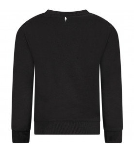 NEIL BARRETT KIDS Black boy sweatshirt with white logo