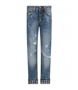 NEIL BARRETT KIDS Light blue boy jeans with black thunders