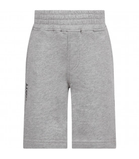 NEIL BARRETT KIDS Grey boy short with white logo