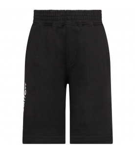 NEIL BARRETT KIDS Black boy short with white logo
