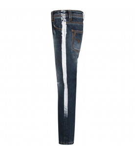 NEIL BARRETT KIDS Blue denim boy jeans with white stripes