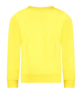 MSGM KIDS Yellow boy sweatshirt with black and white logo