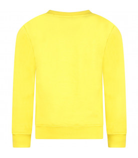 MSGM KIDS Yellow girl sweatshirt with black logo