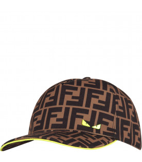 FENDI KIDS Brown kids hat with double FF