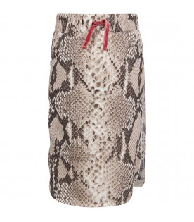 ROBERTO CAVALLI KIDS Python girl skirt with metallic logo