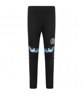 ROBERTO CAVALLI KIDS Black girl leggings with studded logo