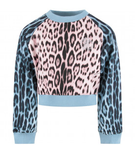 ROBERTO CAVALLI KIDS Light blue and pink girl sweatshirt with studded logo