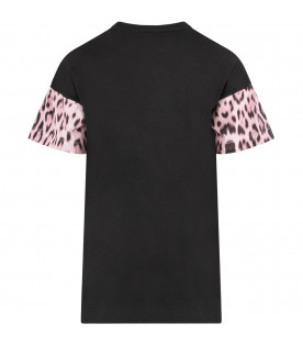ROBERTO CAVALLI KIDS Black girl T-shirt with pink studded and rhinestond logo