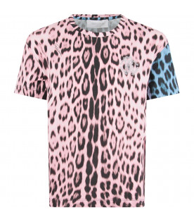 Light blue and pink girl T-shirt with studded logo
