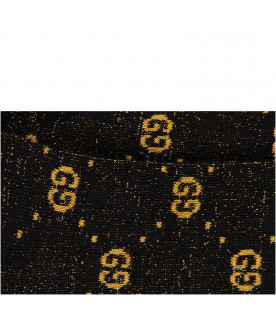 GUCCI KIDS Black girl socks with gold double GG