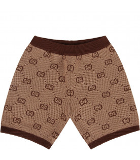 Beige babyboy short with iconic GG