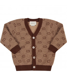 GUCCI KIDS Beige babyboy cardigan with brown iconic GG