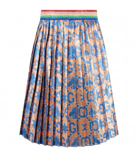 GUCCI KIDS Gold girl skirt with azure double GG and bees