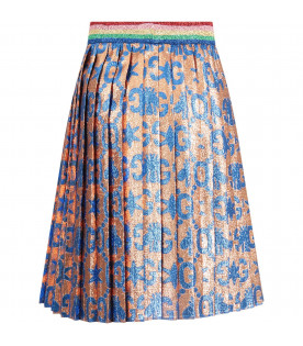 Pink girl skirt with azure double GG and bees