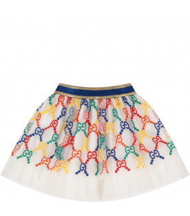 White girl skirt with colorful double GG