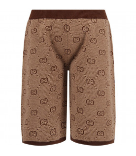 GUCCI KIDS Beige boy short with iconic GG