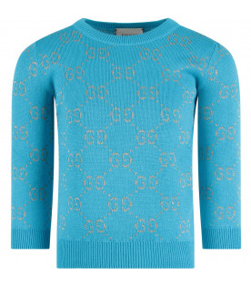 GUCCI KIDS Light blue girl sweater with red iconic GG
