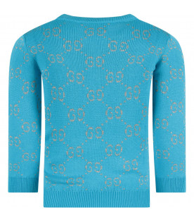 Light blue girl sweater with red iconic GG