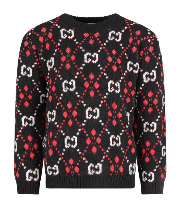 GUCCI KIDS Black kids sweater with white iconic GG