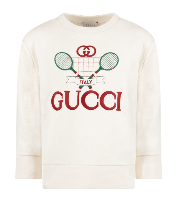 GUCCI KIDS Ivory boy sweatshirt with red logo