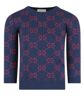GUCCI KIDS Blue girl sweater with red iconic GG