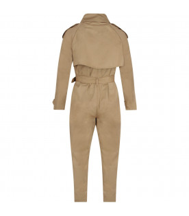 BURBERRY KIDS Beige kids jumpsuit with belt
