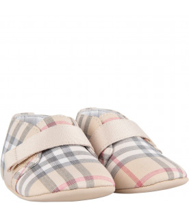 Beige babykids shoes with classic check