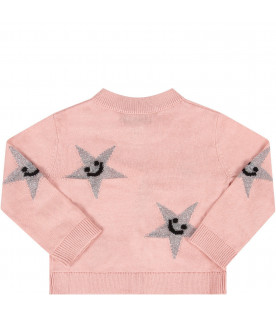 STELLA MCCARTNEY KIDS Cardigan rosa per neonata con stelle argento all-over