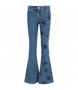 STELLA MCCARTNEY KIDS Denim girl jeans with blue stars