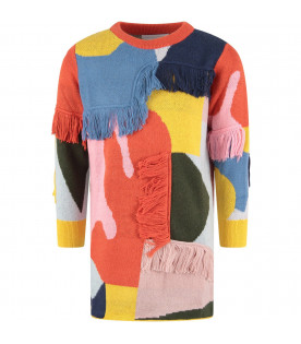 STELLA MCCARTNEY KIDS Abito color block per bambina con frange