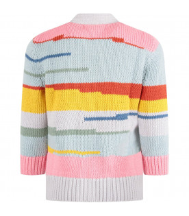 Light blue girl cardigan with colorful stripes