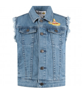 ec082c07a STELLA MCCARTNEY KIDS Denim girl gilet with colorful submarine ...