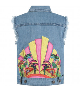 STELLA MCCARTNEY KIDS Gilet denim per bambina con sottomarino colorato