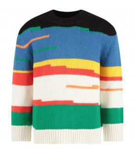 STELLA MCCARTNEY KIDS Multicolor kids sweater with colorful stripes