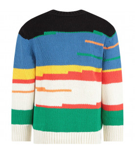 Multicolor kids sweater with colorful stripes