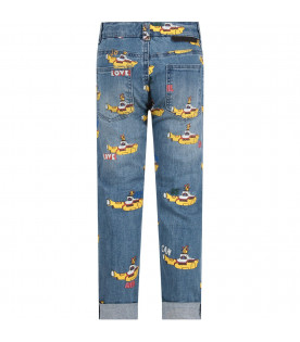 STELLA MCCARTNEY KIDS Jeans denim per bambina con sottomarini colorati