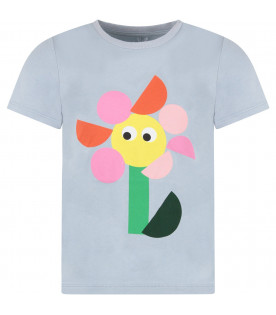 STELLA MCCARTNEY KIDS Light blue girl T-shirt with colorful geometric flower