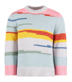 Light blue girl sweater with colorful stripes