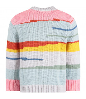 STELLA MCCARTNEY KIDS Light blue girl sweater with colorful stripes