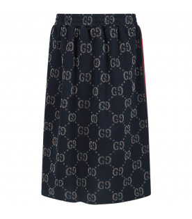 Blue girl skirt with iconic GG all-over