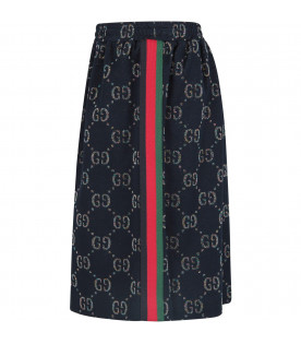 GUCCI KIDS Blue girl skirt with iconic GG all-over
