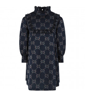 Blue girl dress with iconic GG all-over