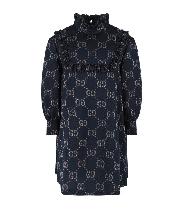 GUCCI KIDS Blue girl dress with iconic GG all-over