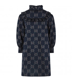 GUCCI KIDS Abito blu per bambina con iconiche GG all-over