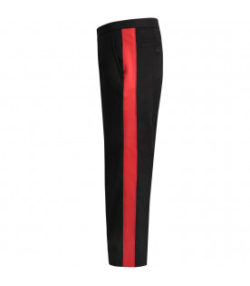 STELLA MCCARTNEY KIDS Black girl pants with red stripes