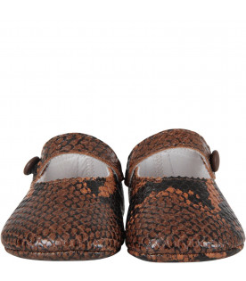 GALLUCCI KIDS Black and brown babygirl ballerina shoes